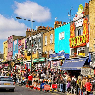 Camden Town High street in London for editorial use
