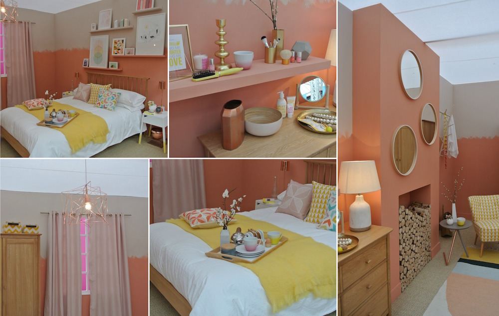 coral bedroom collage