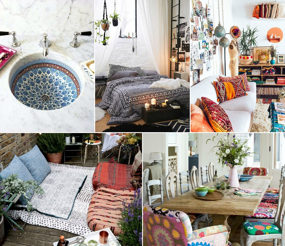 boho interiors collage 1